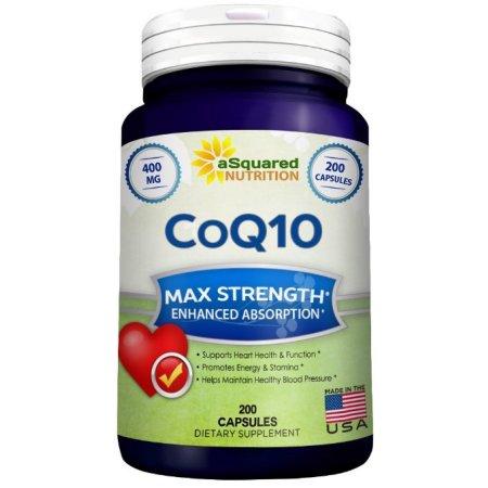 aSquared Nutrition CoQ10 (400 mg Max Fuerza, 200 cápsulas) - Alta absorción coenzima ubiquinona Q10 píldoras de suplementos, puro CO Q10 Enzima vitamina, COQ 10 para la sangre sana presión y corazón