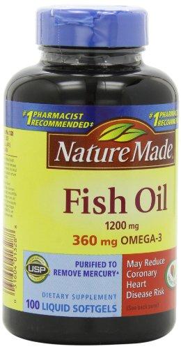 Naturaleza hecha aceite de pescado Omega-3 1200mg, 100 cápsulas