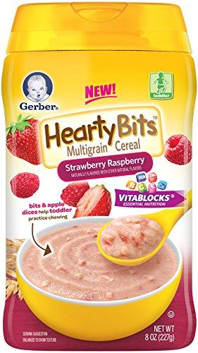 Abundante de cereales de bebé Gerber pedacitos de Cereal multigrano fresa frambuesa, 8 onzas