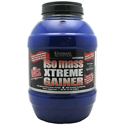 Ultimate Nutrition - serie Iso masa Xtreme Gainer fresa - 10,11 libras.