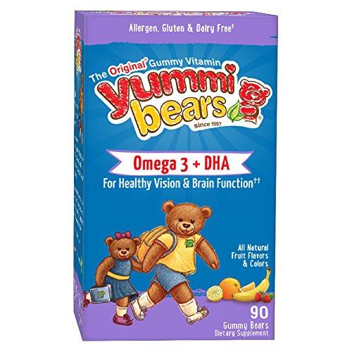 Yummi osos Omega 3 + suplemento de DHA para los niños, los osos Gummy 90