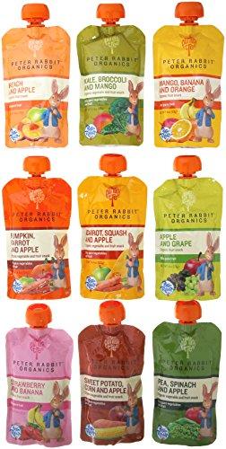 Peter Rabbit orgánicos 100% puro bebé alimentos 10 variedad de sabor, (paquete de 10)