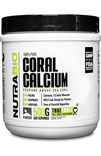Polvo de calcio de Coral puro NutraBio 100% - EcoPure - 500 gramos