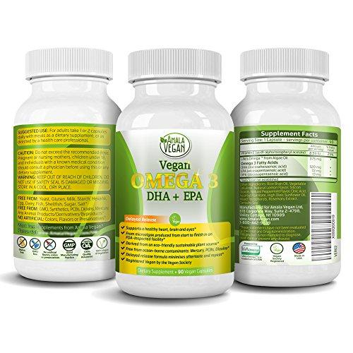 Orgánica y potente Omega 3 suplemento con esencial ácidos grasos, vitamina E, DHA y EPA - algas vegetariana basada y no GMO Time-Release cápsulas - mejorar el ojo, corazón y salud cerebral - mejor que el aceite de pescado - por Amala vegano