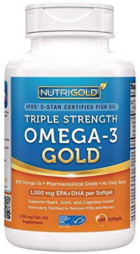 Nutrigold Triple fuerza Omega-3 pescados del oro aceite suplemento, 1250 mg 180 cápsulas