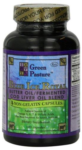 PureTrace certificado verde pasto azul hielo Royal mantequilla aceite / mezcla de aceite de hígado de bacalao fermentado 120 cápsulas (1 paquete)