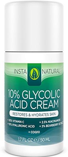 InstaNatural Glicólico ácido crema 10% - 20% vitamina C, ácido hialurónico 10%, niacinamida y CoQ10 - exfoliante hidratante loción para la cara - limpiador de poros para el acné, piel seca y el envejecimiento - 1.7 OZ