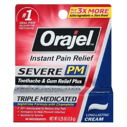 Orajel PM dolor de muelas dolor alivio, duradero crema 0.25 oz paquete de 5