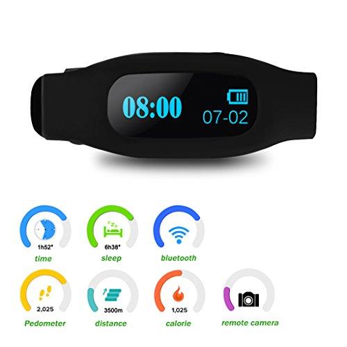 Pulsera ajustable Excelvan OLED inteligente sano deporte pulsera Bluetooth V4.0 con podómetro y seguimiento remoto calorías sueño captura monitoreo / Compatible con Android y iOS Smart Phone (negro)