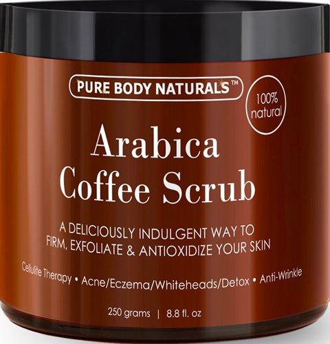 100% natural Arabica café Scrub 8,8 fl. oz. con café orgánico, coco y manteca de karité - mejor acné, tratamiento Anti celulitis y estrías, araña vena terapia para venas varicosas y Eczema