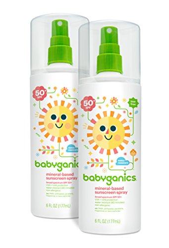 Babyganics bebé base Mineral Sunscreen Spray, SPF 50, botella del aerosol de 6 onzas (Pack de 2)