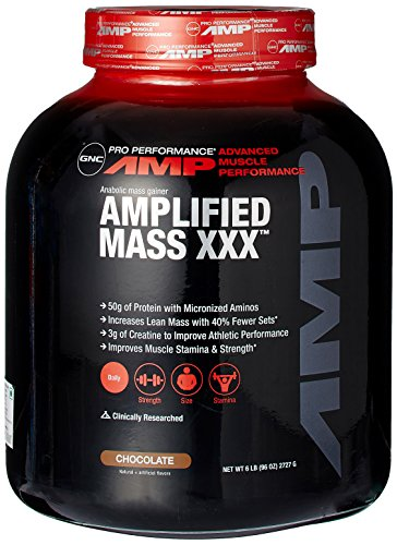 GNC Pro Performance AMP Amplified XXX masa peso Gainer, Chocolate, 6 libras