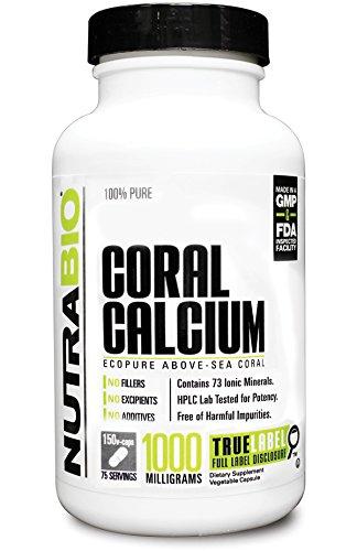 Calcio de Coral NutraBio 100% puro - EcoPure 1000mg - 150 Cápsulas vegetales