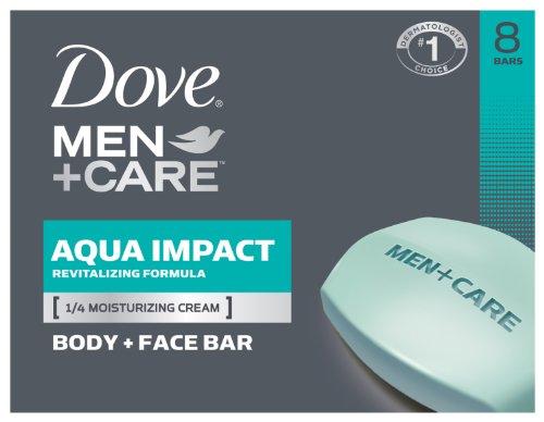 Dove Men + Care cuerpo y cara Bar, Aqua impacto 4 oz, 8 Bar