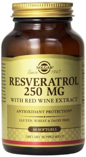 Solgar Resveratrol vino tinto Extracto cápsulas, 250 Mg, 60 Count