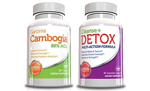Mejor Garcinia Cambogia Kit de pérdida de peso con Colon Cleanse y desintoxicación, incluye Garcinia Cambogia extracto 180 cápsulas (tamaño de valor) y de desintoxicación y limpieza suplemento 60 cápsulas, nuevo año nuevo cuerpo mejor peso pérdida combina