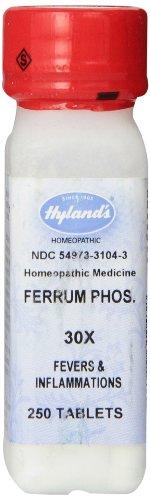 Ferrum Phosphoricum de Hyland 30 X comprimidos, Natural homeopática fiebre y resfriado, cuenta 250