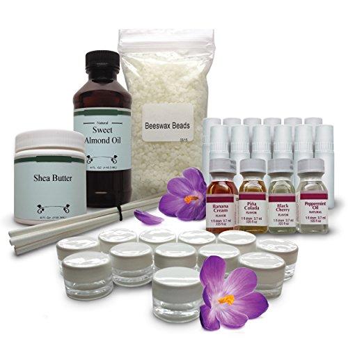 Kit de bricolaje labio bálsamo - todo lo necesario para realizar 24 exuberante del todo Natural bálsamos para labios suave saludables