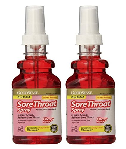 Goodsense garganta Spray anestésico Oral, 6 Fl Oz, 2-pack, comparar a Chloraseptic ingredientes
