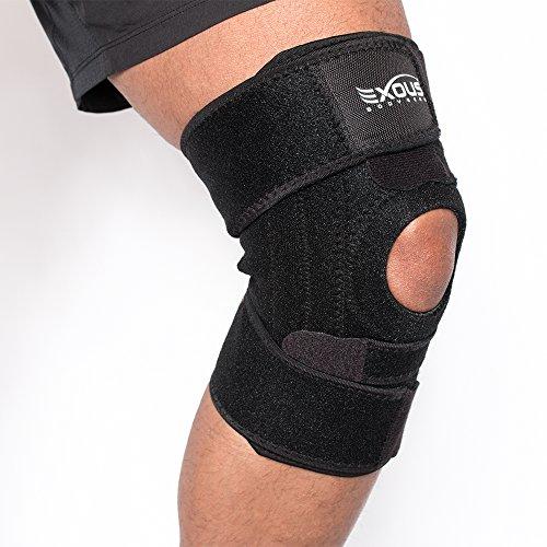 Bodygear® EXOUS EX-701 rodilla rodillera soporte alivia la tendinitis rotuliana y ayuda a estabiliza ligamentos LCA/LCL y dolor artrítico con diseño único antideslizante confort y Super fuerte Velcro 100% garantía de por vida