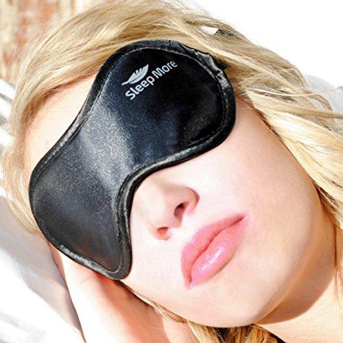 Dormir más máscara, durmiendo mascarillas para hombres o mujeres. Gratis 3M tapones para los oídos. Una máscara de satén negro de calidad.