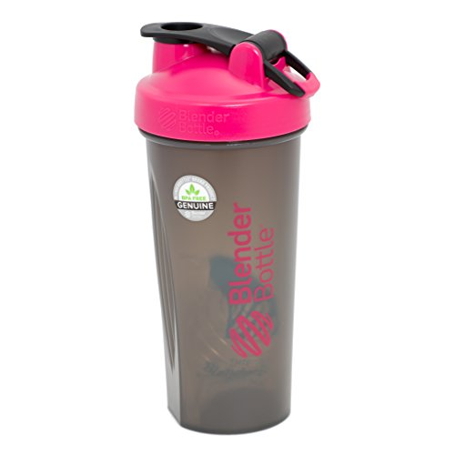 BlenderBottle Full Color botellas - nuevo translúcido de Color negro con bola de coctelera de la - rosa - 28oz
