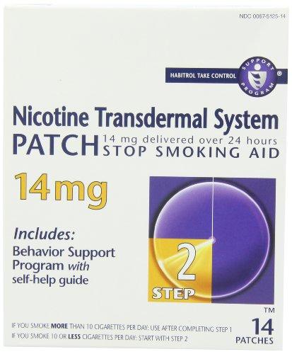 Parche de sistema transdérmico de nicotina, dejar de fumar ayuda, 14 mg, paso 2, 14 parches