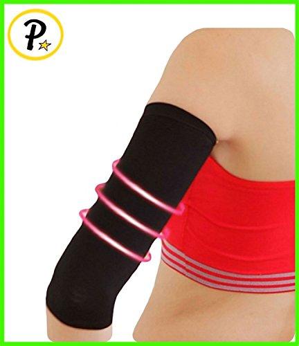 NUEVA compresión de brazos Slim manga más delgado que forma celulitis par de deportes 1 manga (negro)