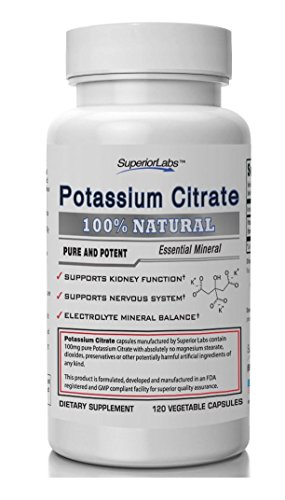 #1 citrato de potasio de calidad por laboratorios Superior - 99mg, 120 Caps vegetales - Made In USA, 100% garantía de devolución de dinero