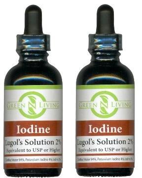 Yodo Lugols 2% suplemento de yodo líquido 2 Pack (2 botellas a 2oz cada uno) contiene yoduro de potasio