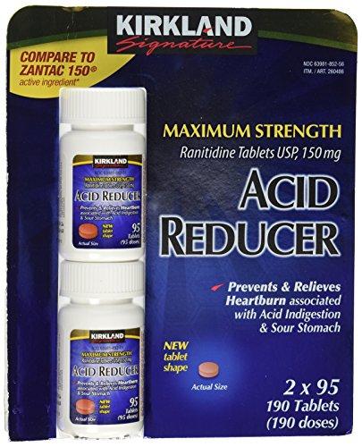 Reductor de Kirkland Signature máxima resistencia ácido ranitidina tabletas USP 150 95 MG tabletas tabletas 2-cuenta 190 Total.