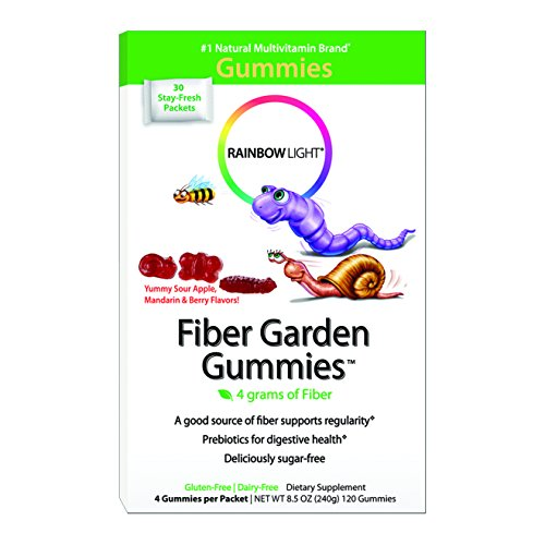 Arco iris jardín gomoso luz de fibras, 4 gomitas por paquete, 30 paquetes