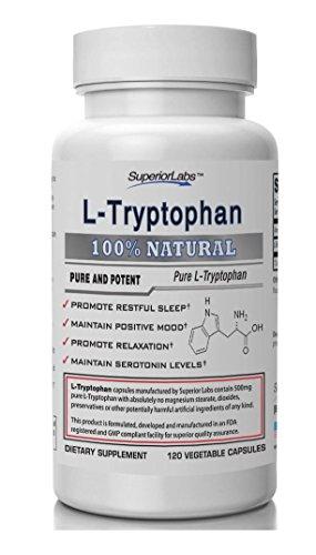 #1 calidad L-triptófano por laboratorios Superior - sin estearato de magnesio - 500mg, 120 Caps vegetales - Made In USA, 100% garantía de devolución de dinero