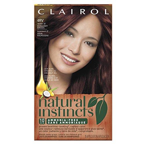 Color del pelo de instintos de Clairol Natural 32 egipcio ciruela Borgoña marrón 1 Kit (paquete de 3)