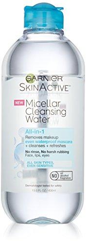 La piel de Garnier activo agua limpiadora micelar todo-en-1 limpiador y removedor de maquillaje resistente al agua, 13.5 onzas de líquido