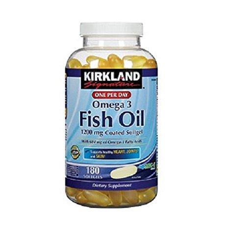 Kirkland Signature pescado aceite 1200 Mg entérico cubierto proporciona 684 Mg de ácidos grasos Omega-3: 180 cápsulas