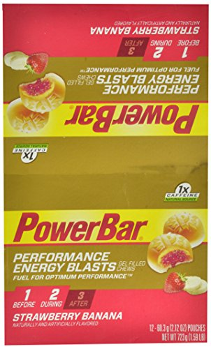 Energética de PowerBar explosiones masticables rellenos de Gel, fresa plátano, bolsas de 2,12 onzas (Pack de 12)