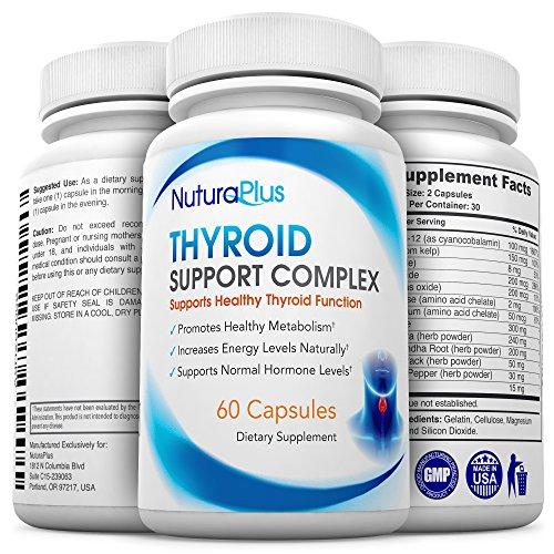 Suplemento de soporte de tiroides Premium - fórmula Natural con yodo para niveles saludables de hormonas - combate caída del cabello - aumenta los niveles de energía y estado de ánimo - promueve sano metabolismo, pérdida de peso y la concentración