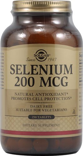 Tabletas de Solgar selenio 200 Mcg, 250 cuenta