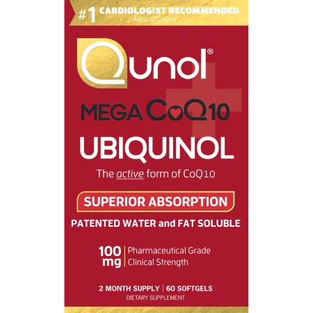 Qunol Mega Súper CoQ10 Ubiquinol Cápsulas suplemento dietético, 100 mg, 60 conteo