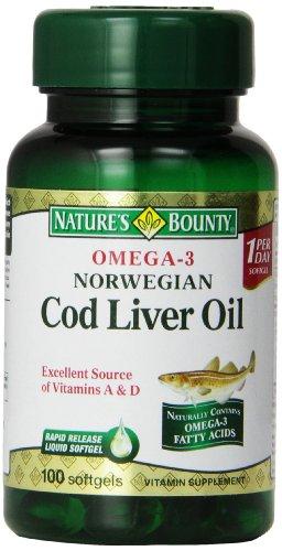 100 cápsulas blandas, aceite de hígado de bacalao noruego de Omega-3 de generosidad de la naturaleza