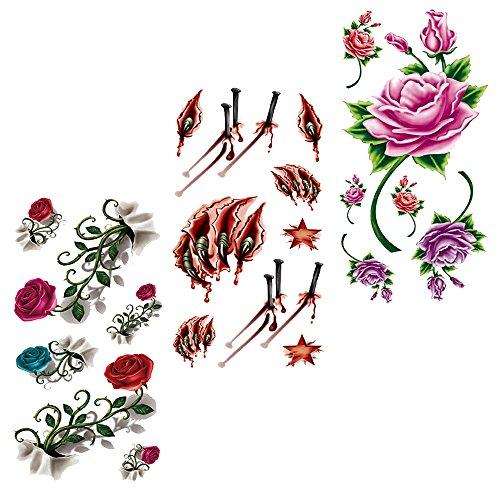 EVTECH(TM) 3 estilo colorida mezcla Floral flores rosa loto chino lobo garra sangre estrellas 3D tatuajes temporales del discoteca impermeable tatuajes de la transferencia