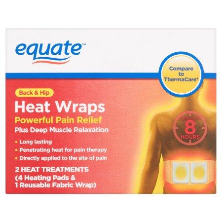 Equate Volver y Hip calor Wraps 4 Almohadillas Térmicas