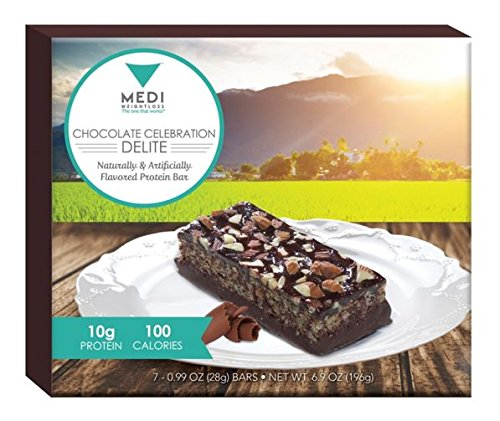 Barras de proteína de Medi-adelgazar Chocolate celebración Delite 100 calorías, alta en proteínas (10g) - para el Control del hambre durante la dieta adelgazar - 7 barras por caja
