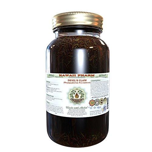 Harpagofito extracto líquido sin Alcohol, orgánica del diablo (Harpagophytum Procumbens) secada al sol Tuber Glycerite Hawaii Pharm Natural suplemento herbario 32 oz sin filtrar la garra