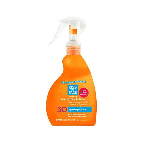 Beso mi cara sol Spray Natural bloqueador SPF 30 protector solar, 14 onzas