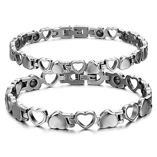 Starista titanio acero magnetoterapia pulsera corazón hueco germanio Balance pulsera para mujeres