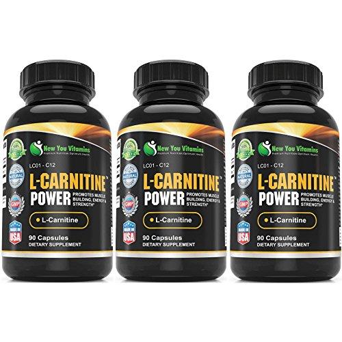 L-carnitina potencia la construcción de músculo, energía L-carnitina 1000mg 270 capsulas 3 botellas