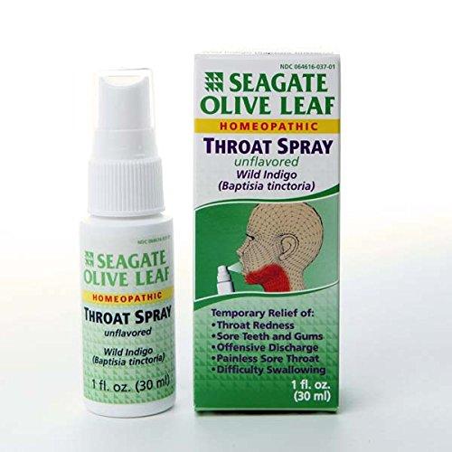 Unflavored 1 onza de Seagate productos olivo hoja homeopáticos Spray para la garganta (paquete de 1)