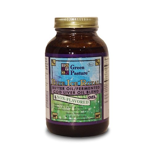 Pasto verde hielo azul Royal mantequilla aceite fermentado bacalao aceite de hígado mezcla 8,1 oz sin sabor a PureTrace certificada en Premium embalaje (paquete 1)